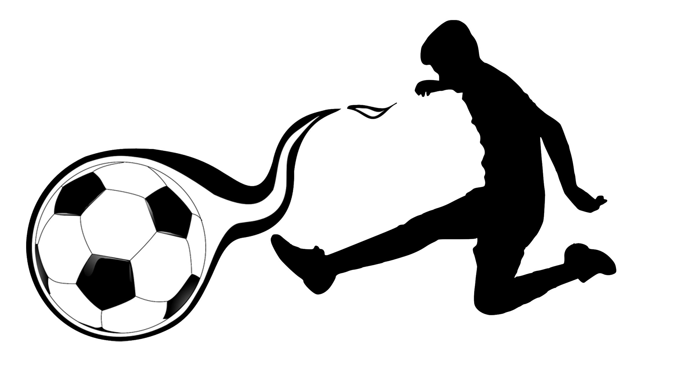 Decorative background image of player kicking soccer ball