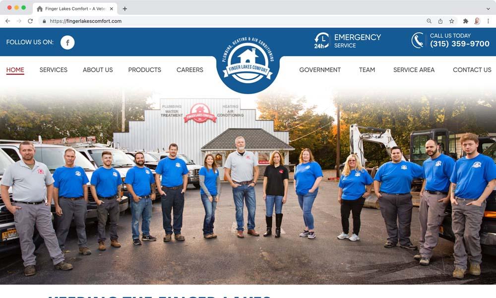 Website client screenshot: Finger Lakes Comfort