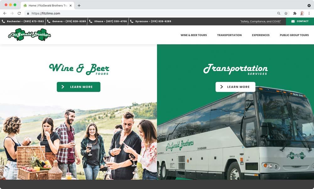 Website client screenshot: FitzGerald Brothers Transportation