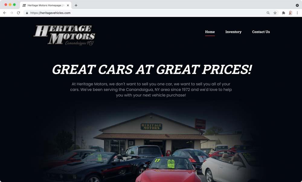 Website client screenshot: Heritage Motors