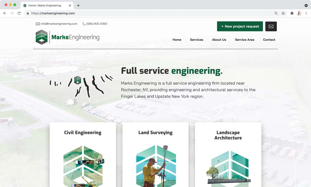 Website client screenshot: Marks Engineering