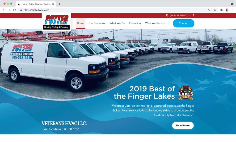 Website client screenshot: Potter HVAC