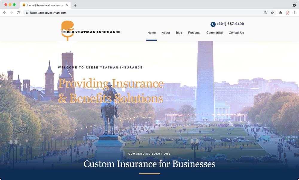 Website client screenshot: Reese Yeatman Insurance