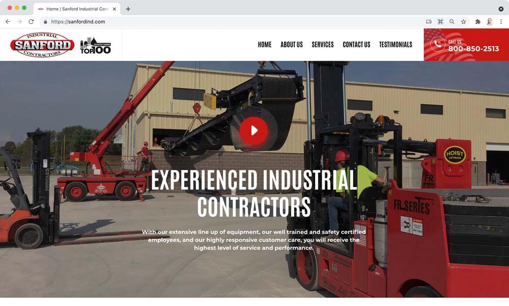 Website client screenshot: Sanford Industrial Contractors