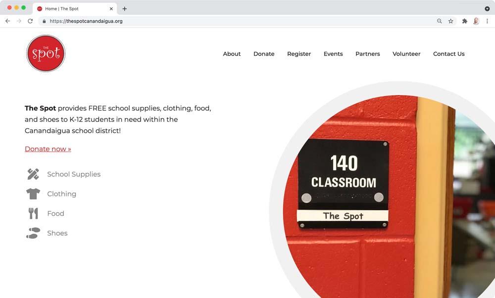 Website client screenshot: The Spot