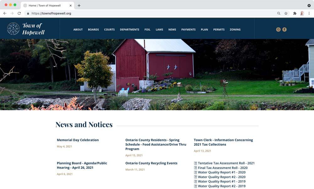 Website client screenshot: Town of Hopewell