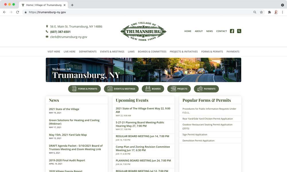 Website client screenshot: Village of Trumansburg