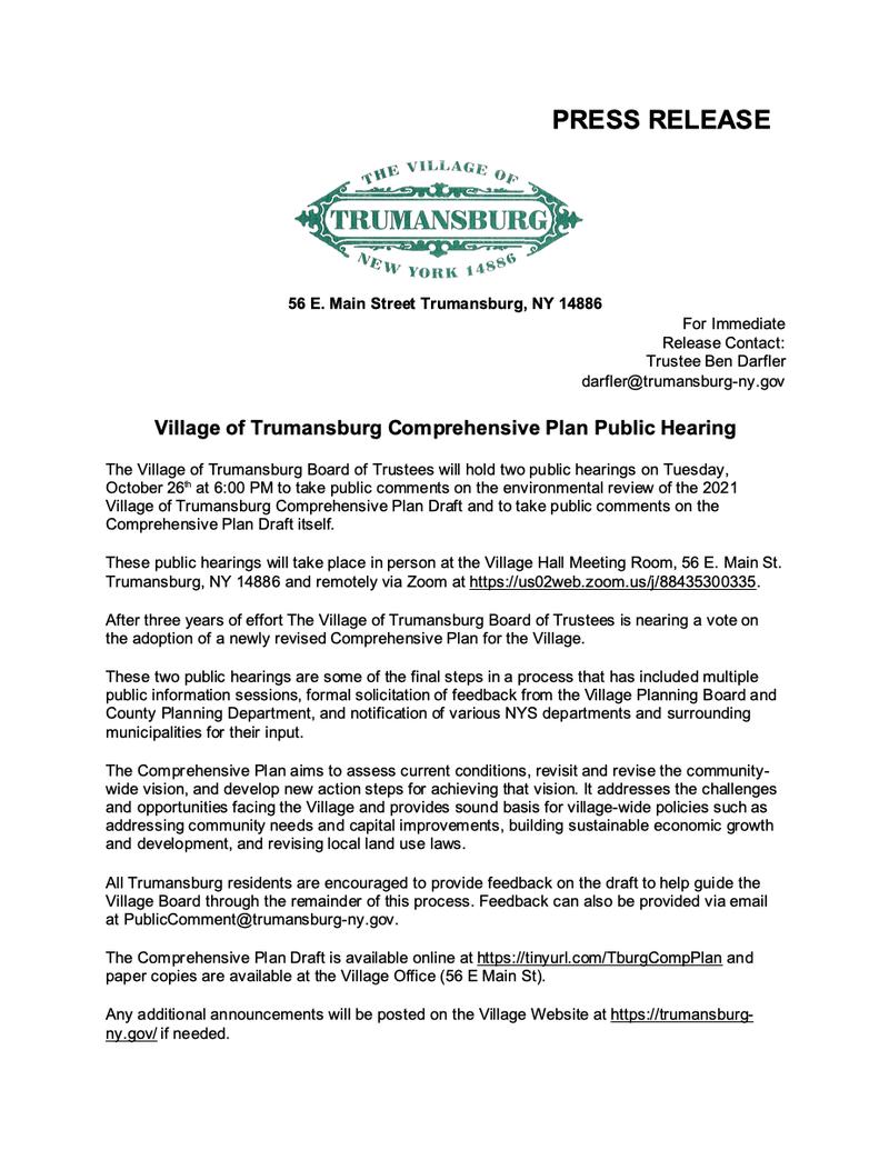 Press Release - Public Hearing