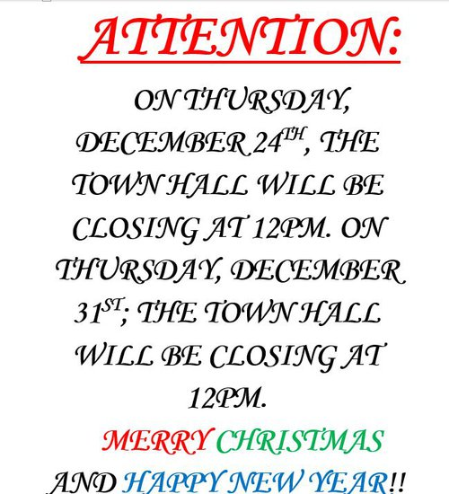 Town Hall - Christmas Eve & New Year's Eve Hours
