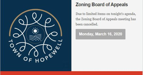 ZBA Meeting Cancellation