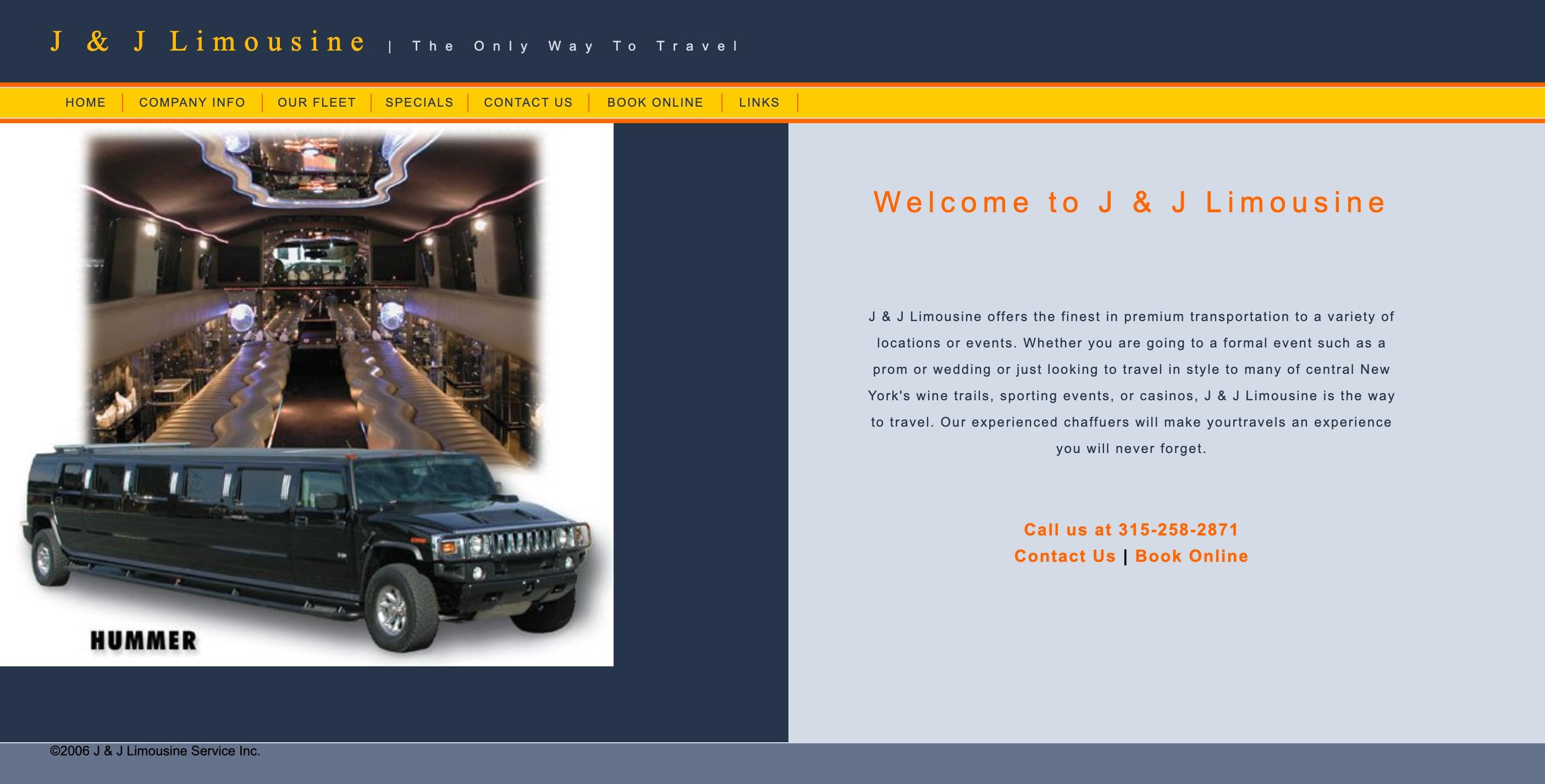 JJ Limo website screenshot
