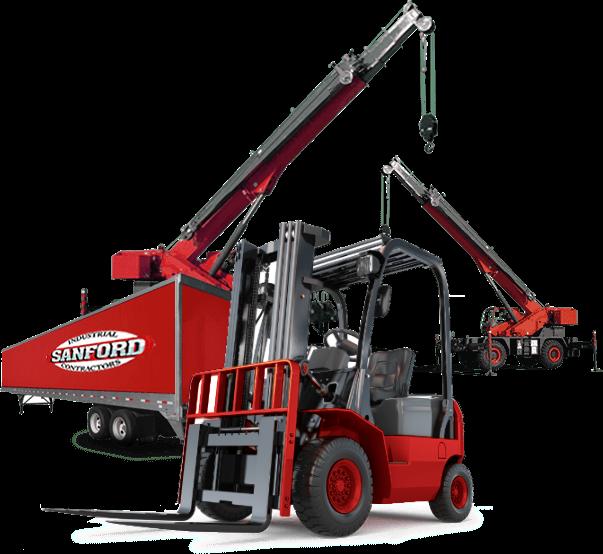 Forklift, box trailer, and crane
